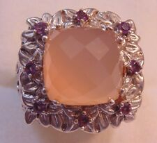 Sterling Silver Faceted Rose Quartz & Amethyst Ring *Size 8* *13.9 grams*  PRA55