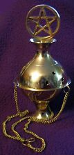 "Pentacle Pentagram Wicca Wiccan Celtic BRASS Hanging 7.5"" Censer INCENSE Burner"