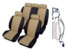 Bloomsbury Black/Beige Leather Look Car Seat Covers For Skoda Fabia Octavia Supe