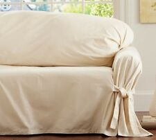 Pottery Barn Tie-Arm Loose-Fit Slipcover SMALL Sofa - Cream Twill