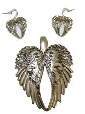 New Burnished Silver & Crystal Angel Wings Chunky Pendant & Earring Set