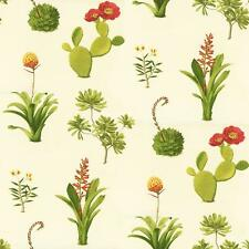 Wallpaper Designer Cactus Prickly Pear Blossom and Desert Succulents on Cream