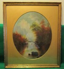 Vintage Hudson River School Oil Painting Under Glass Gold Frame