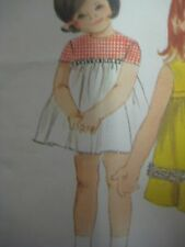 Vtg 60s Butterick 3972 DRESS w/ CONTRAST BODICE RIBBON TRIM Sewing Pattern Child