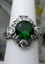 Sterling Silver Deco & Fleur de lis Filigree *Emerald* & Zirconia Ring Size 9
