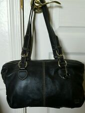 THE SAK Genuine Soft Pebble Leather Hobo Shoulder Bag Purse Black