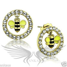 Brilliant Top Grade Crystals Honey Bee Shaped Stainless Steel Earrings TK1453