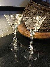 "Cambridge Crystal 3121 Rose Point 6"" Tall Champagne Sherbet - Set of 2 Prisitne!"