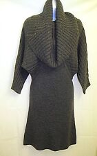 NWT($148) GUESS . Woman's Gray Fitted Ribbed Sweater Dre w. Bat Wings  . Medium