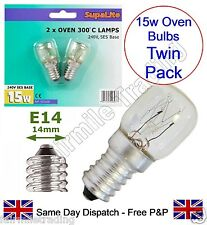 Supalite Twin Pack 2x 300° HT 15W Oven Appliance Light Bulb 240v SES E14 Lamp