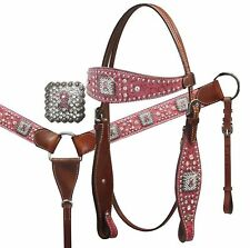 Showman PINK Ribbon Embossed Headstall Breast Collar Set W/ Crystal Rhinestones!