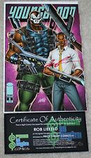 YOUNGBLOOD 8 OBAMA GUN EMERALD CITY COMIC CON PURPLE VARIANT LIEFELD SIGNED COA