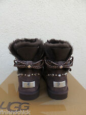 UGG BAILEY BRAID BOW SWAROVSKI CRYSTAL BLING SHEEPSKIN BOOTS, US 7/ EUR 38 ~NIB