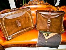 French Company 2 piece luxury leather suitcase & Garment bag Vintage classic