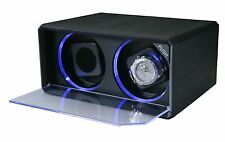 Diplomat Automatic Double Dual Watch Winder with LED Black Leather Box Case