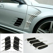 Chrome Silver Exterior Decorative Door Side Vent Air Flow Intake Grille Sticker