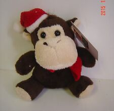 "2 SET Christmas Holiday SANTA Monkey Stuffed PLUSH BROWN 5"" Tall COLLECT New"