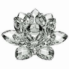 Glass Crystal Cut Faceted Lotus flower Figurine Paperweight Wedding Gift 16cm