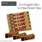Raw King Size Slim Natural Rolling Papers 5 Booklets & 3 Roach Tips Combo Pack