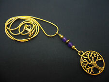 A LOVELY GOLD COLOUR TREE OF LIFE & AMETHYST JADE BEAD  NECKLACE . NEW.