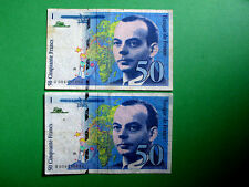 2 x 50 Franc French Banknotes set 1992 & 1993