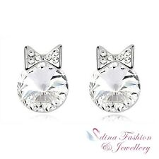18K White Gold Plated Made With Swarovski Crystal Princess Cat Stud Earrings