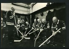 1968 New York Rangers Old Timers Day Press Photo players in dressing room