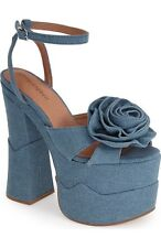 Jeffrey Campbell Women's Rosanna Flower Platform Denim Sandal size 10 M ns8/13