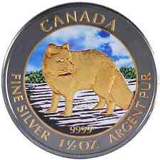 2014 1.5 Oz Ounce Canadian Silver Arctic Fox Coin .9999 Ruthenium and Gold Day
