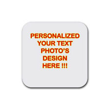 New Personalized Custom Logo Design Photo Text Rubber Square Coaster (4 pack)