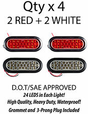 """6.5"""" Inch Oval 24 LED Backup/Tail Truck Light w/ Grommet+Pigtail- 2 White+2 Red"""