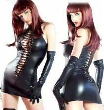 Dress Womens Black Dominatrix Faux Leather Lace Up Gloves Thong Role Play M Ne==
