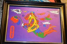 PETER MAX TITLE COSMIC FLYER WITH DOVES 5X7 PRINT-FRAMED- A RARE FIND