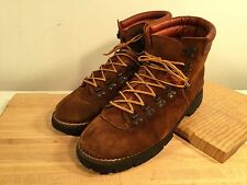 Sz 10.5 Trax Vintage Italian Mountaineering Boots Suede Leather Vibram Soles Ref