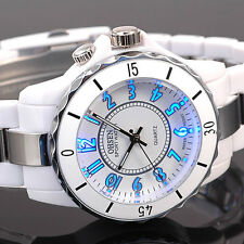 OHSEN White 7 Mode Backlight Night Vision Quartz Run Sport Wrist Watch +Gift Box