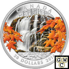 2014 'Autumn Falls' Colorized Proof $20 Silver Coin 1oz .9999 Fine (14045)