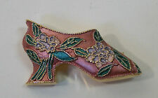 "1 3/4"" Vintage Style Enameled Pink Green Shoe Pin Brooch Gold Plate"