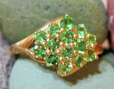 SPARKLING ESTAGE 14K YELLOW GOLD & PERIDOT CLUSTER RING SZ 7.25
