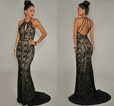 Ladies Halter Neck Black Lace Nude Illusion Open Back Evening Party Gown 10 12