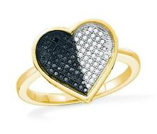 Big Look! 100% 10K Yellow Gold Black& White Diamond Heart Shaped Ring .25ct