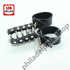 Male Genuine Leather Chastity Device Cage Locking