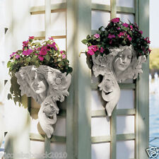 Set of 2  Art Nouveau French Spring Summer Lady Wall Planter Sculpture Designer