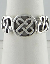 LADIES 925 STERLING SILVER OPEN CELTIC KNOT DESIGN HIGH POLISH FINE JEWELRY RING