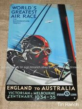 AIR RACE TIN SIGN 30s UK-Melbourne AUSTRALIA vintage poster PLANE aircraft pilot
