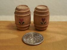 """Pair Of Dollhouse Wooden Barrels - Decorated With Flowers - 7/8"""" Tall"""