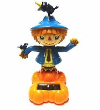 New Solar-Powered Fall Thanksgiving Scarecrow Blue Outfit w/ Crow ~FREE SHIPPING