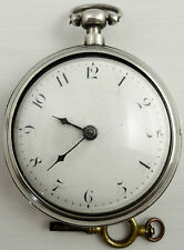 Small antique silver pair cased verge pocket watch ElizTope.London1816 Working