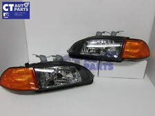 "92~95 HONDA CIVIC EG JDM BLACK HEADLIGHTS + AMBER CORNER "" FOR 2D / 3D / 4D"