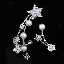 Silver Plated pearl star Clip ear cuff Wrap Earrings Rhinestone Stud Earrings