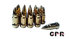 CPR CLOSE ENDED BULLETS SPIKE STEEL LUG NUTS WITH KEY GOLD 57MM NEW DESIGNED